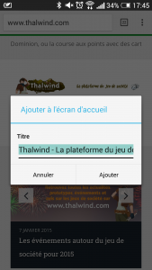 Ajout Thalwind à l'écran d'accueil