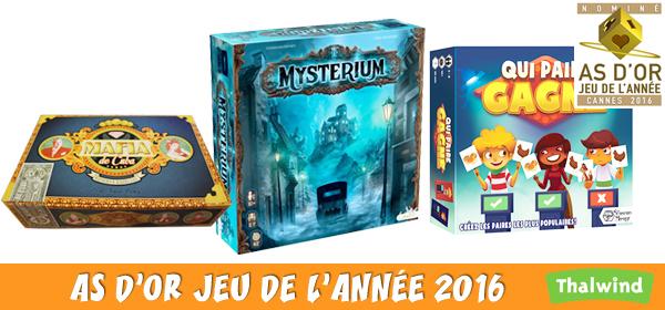 Les jeux nominés pour le label As d'Or jeu de l'Année 2016
