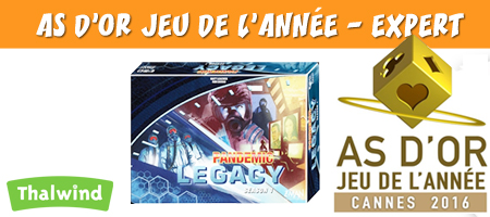 Pandemic Legacy remporte le label As d'Or Jeu de l'année - Expert