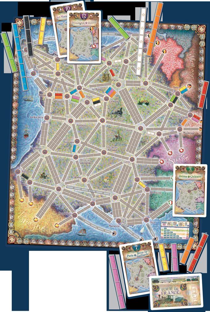 La carte des Aventuriers du Rail : France