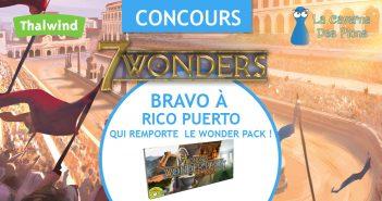 Le gagnant du concours Wonder Pack - 7Wonders